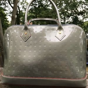 Arcadia grey patent leather bag